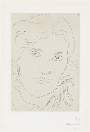Etching Matisse - Jeune fille de face, flot de ruban sur l'épaule gauche
