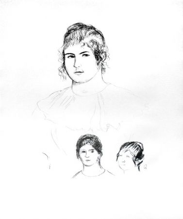 Lithograph Renoir - Jeune fille en buste et etudes de têtes (ou Gabrielle) [Three Sketches of Faces, Gabrielle]
