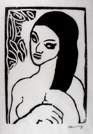 Woodcut Vlaminck - Jeune Fille se Coiffant