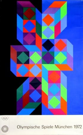 Screenprint Vasarely - Jeux Olympiques Munich 1972
