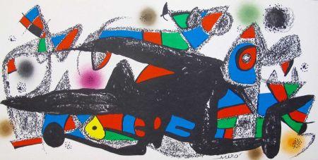 Lithograph Miró - Joan Miro - Miró Escultor . Dinamarca 40 X 20 Cm.firmada En Plancha