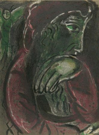 Lithograph Chagall - Job Disconsolate from