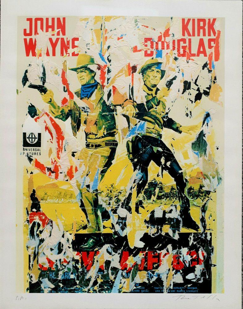 Screenprint Rotella - John Wayne - Kirk Douglas