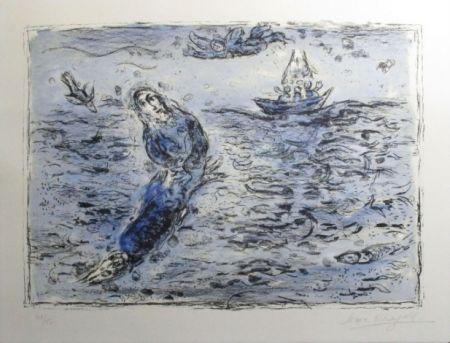 Lithograph Chagall - Jonas Sur Fond Bleu