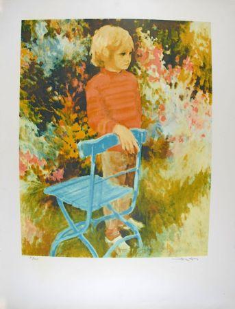 Lithograph Kitslaar - Jongetje bij stoel
