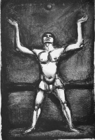 Lithograph Rouault - Jongleur