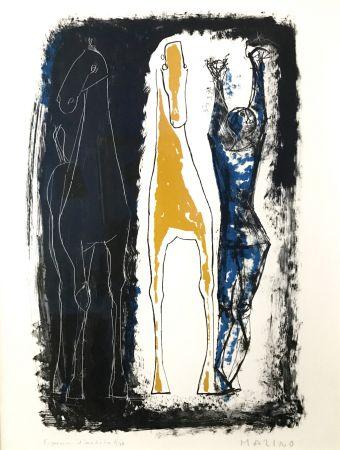 Lithograph Marini - Jongleur Et Deux Chevaux