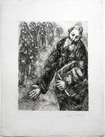 Engraving Chagall - Josué lit les Paroles de la Loi (La Bible. Teriade 1956). Épreuve signée.