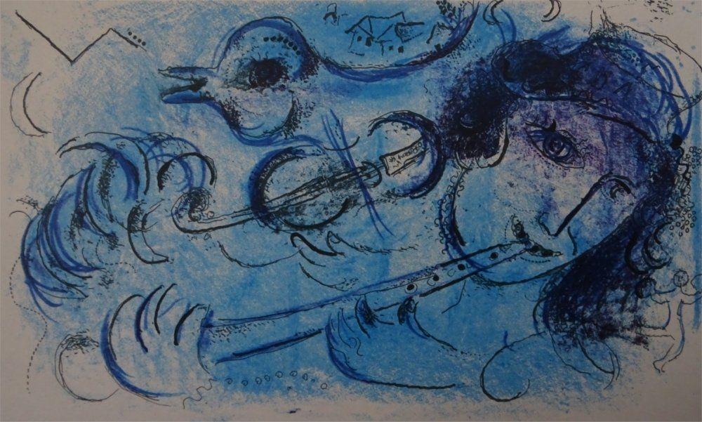 Lithograph Chagall - Joueur de Flute