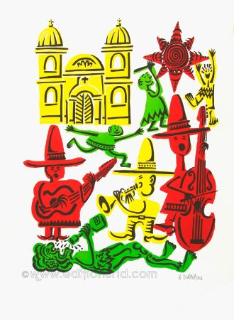 Lithograph Di Rosa - Jour de fête
