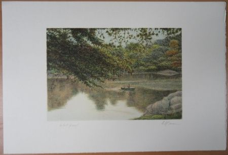 Lithograph Altman - Journey on the lake