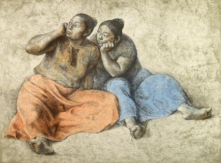 Lithograph Zuniga - Juchitecas II