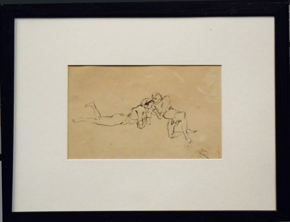 No Technical Pascin - Jules Pascin. Couple allongé, vers 1922. Dessin.