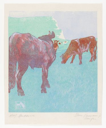 Woodcut Neumann - Jungbullen Auf Der Weide (Young Bulls In The Pasture)