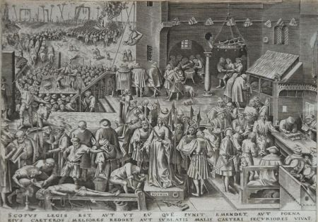 Engraving Brueghel - Justice from The World of Seven Virtues