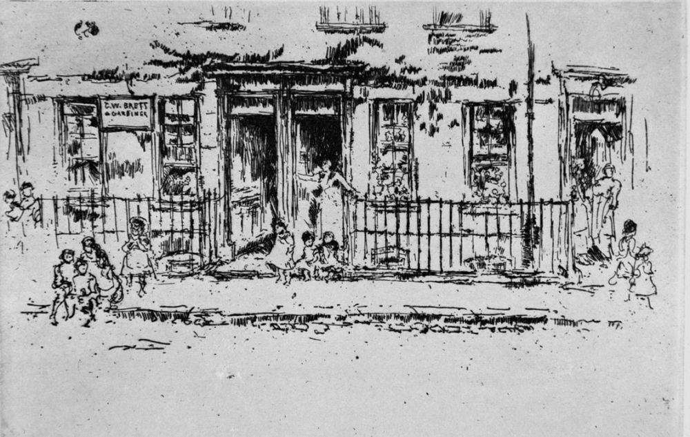 Engraving Whistler - Justice Walk, Chelsea