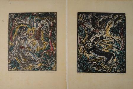 Woodcut Klemm - König Sindibad und sein Falke