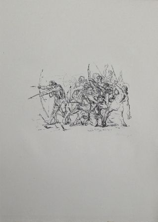 Lithograph Slevogt - Kampf der Hellenen gegen die Barbaren