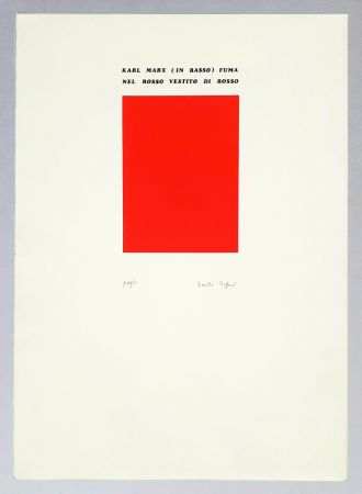 Screenprint Isgro - Karl Marx (in basso) fuma nel rosso vestito di rosso