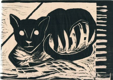 Woodcut Heisig - Katze