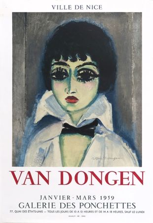 Lithograph Van Dongen - Kees Van Dongen (1877-1968). Affiche Galerie des Ponchettes. 1959. Lithographie.