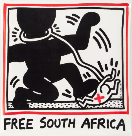Lithograph Haring - Keith Haring 'Free South Africa' 1985 Plate Signed Original Pop Art Poster