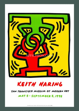 Lithograph Haring - Keith Haring 'Headstand' 1998 Plate Signed Original Pop Art Poster with COA
