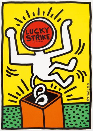 Lithograph Haring - Keith Haring 'Lucky Strike II' 1987 Plate Signed Original Pop Art Poster with COA
