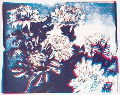 Screenprint Warhol - Kiku Blue & Red