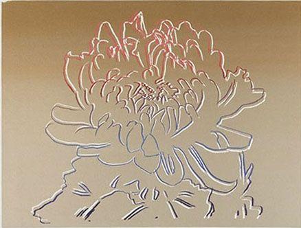 Screenprint Warhol - Kiku Gold & Pink