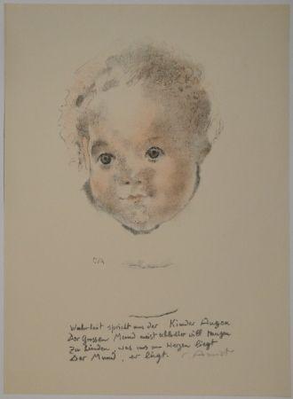 Lithograph Amiet - Kinderköpfchen