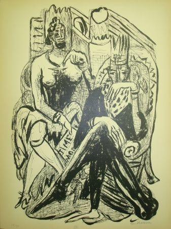 Lithograph Beckmann - King and Demagogue