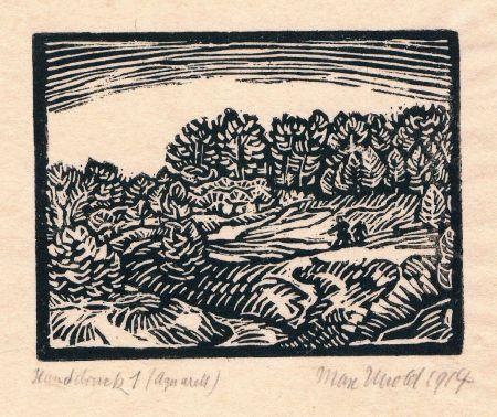 Woodcut Unold - Kleine Landschaft