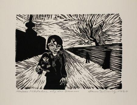 Woodcut Grundig - Kleines Mädchen auf der Straße (Young Girl in the Street)