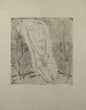 Etching And Aquatint Geiger - Kniende (Grosse Fassung) / Kneeling Woman (Large Version)