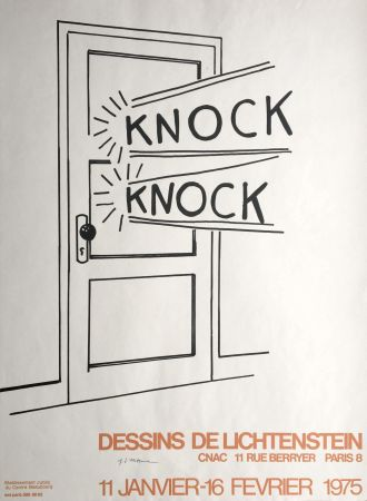 Lithograph Lichtenstein - 'Knock Knock' Hand Signed Pop Art Poster Print