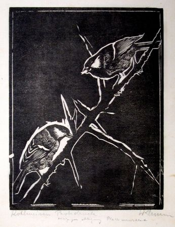Woodcut Klemm - Kohlmeisen (Great Tits)