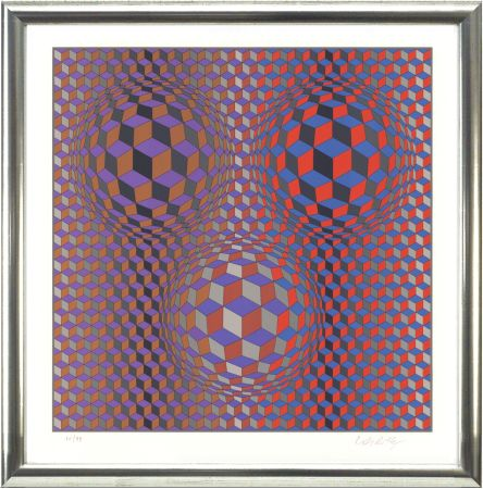 Lithograph Vasarely - Komposition In Rot Und Violett