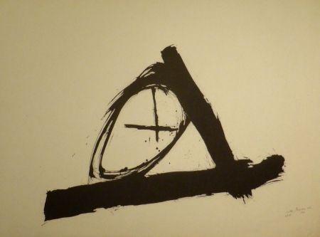 Lithograph Bissier - Komposition mit Kreuz und Kreis
