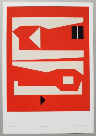Screenprint Huber - Komposition rot-weiss-schwarz