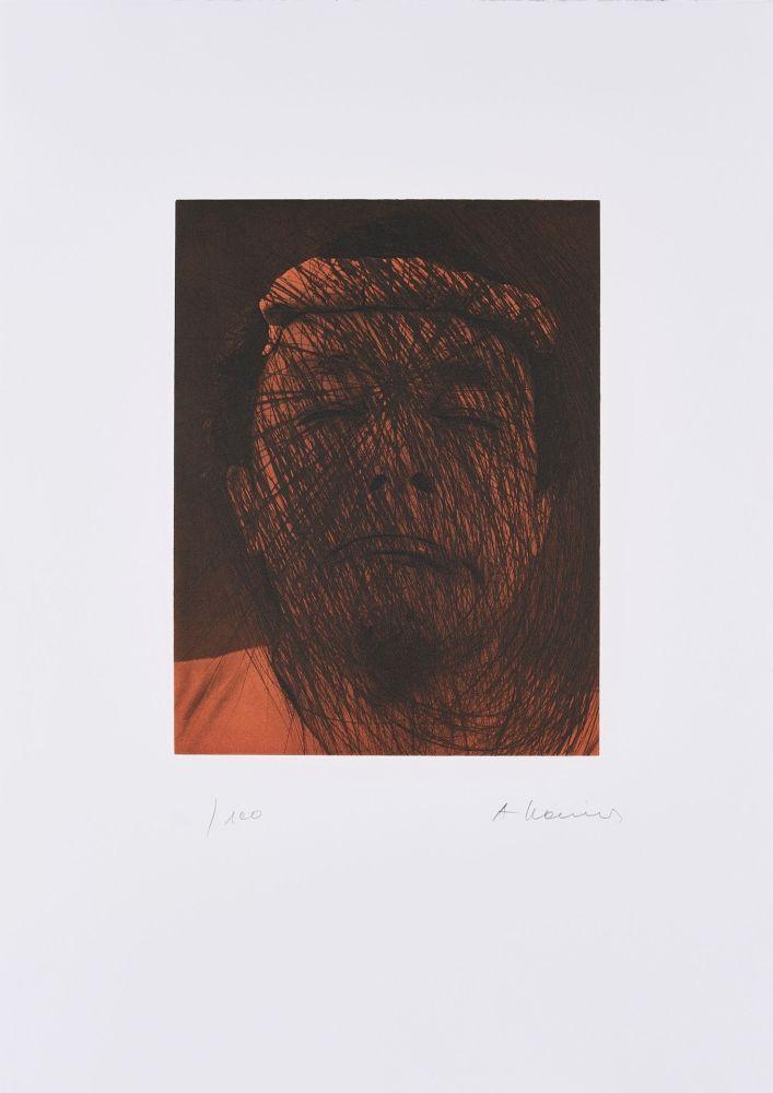 Lithograph Rainer - Kopf auf Braun