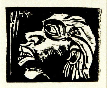 Woodcut Pechstein - Kopf eines Insulaners (Head of an Islander)
