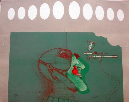 Lithograph Wunderlich - Kopft mit maske