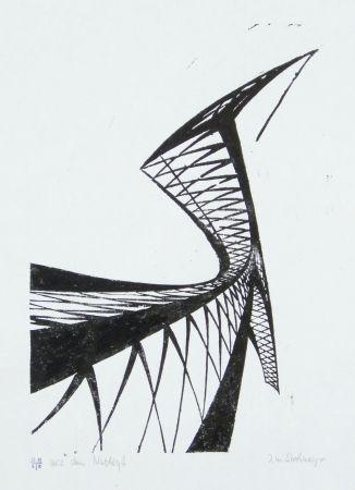 Linocut Strohmeyer - Kran (Crane)