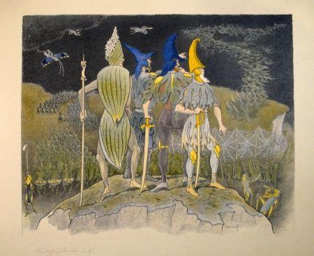 """Lithograph Kreidolf - """"Krieg"""" Germer-, Rittersporn, blauer und gelber Eisenhut-Ritter stehen als Feldherren auf einem Hügel über einem vorüberziehenden Heuschrecken-Heer."""