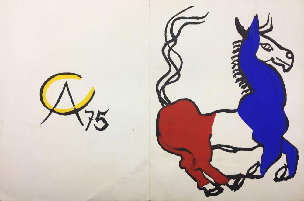 No Technical Calder - L'ÂNE TRICOLORE (BLEU BLANC ROUGE),1975. Carte originale gouachée par Alexander Calder.