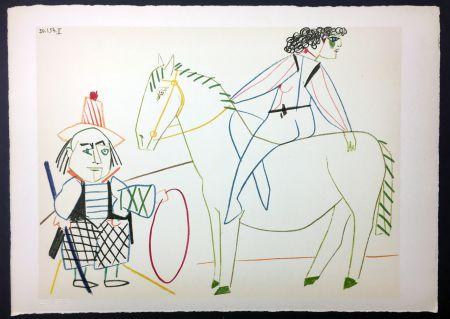 Lithograph Picasso - L'écuyère et l'homme au cerceau (de La Comédie Humaine - Verve 29-30. 1954)