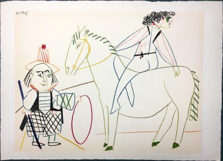Lithograph Picasso - L'écuyère et l'homme au cerceau (La Comédie Humaine - Verve 29-30. Vallauris 1954)