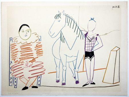 Lithograph Picasso - L'écuyère, le cheval et le clown (La Comédie Humaine - Verve 29-30. 1954).