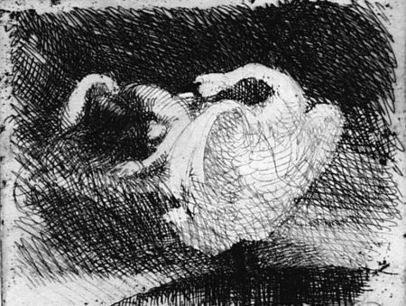 Engraving Besnard - Léda s'endort